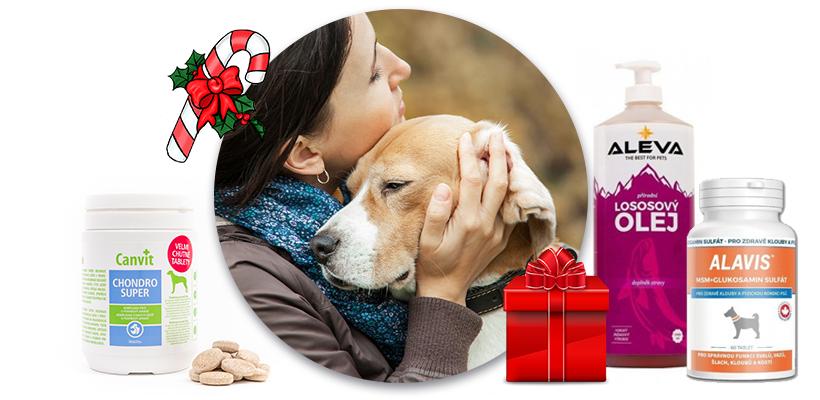 cb6150437c02 Dárky pro psy na Vánoce doplňky stravy Alavis Canvit lososový olej Aleva